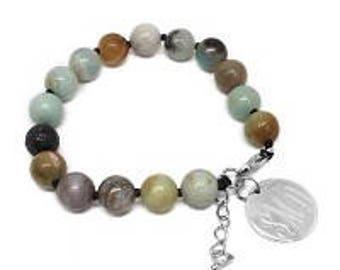 Monogrammed Beaded Bracelet, Amazonite Bead Bracelet