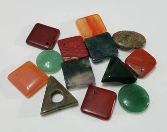 Gemstone, Lot, Semi-Precious, Stone, Mixed, Agate, Jasper, Square, Diamond, Oval, Round, Beads, Jewelry, Beading, Supply, Supplies