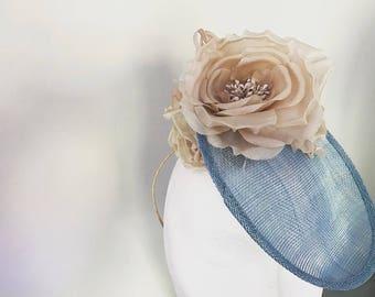 Blue & Champagne blush wedding hat