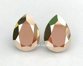 4320 ROSE GOLD 18x13mm Swarovski Crystal Pear Teardrop Fancy Stones 2 pieces