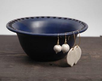Pottery earring organizer, pottery earring holder, jewelry dish, ceramic earring bowl, cobalt blue