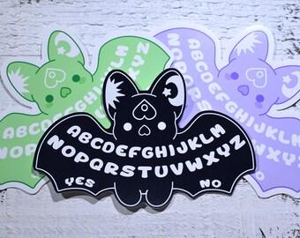 Kawaii Ouija Bat Sticker - ( Cute goth pastel black purple green ouija bat halloween stickers )
