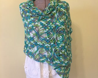 Crochet Shawl, Super Scarf, Handmade Shawl, Soft Shawl, Colorful Shawl, Lacy Wrap, Nursing Privacy Drape, Boho Wrap