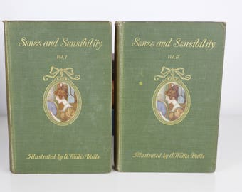 Sense and Sensibility by Jane Austen - 1909 - Vol 1 and 2 - First Editions - Owned by Suffragette