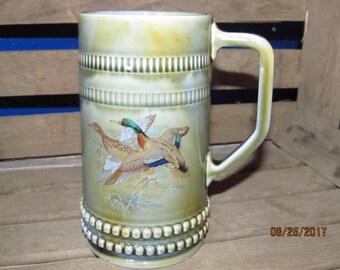 Vintage Wade Irish Porcelain Beer Stein Beautiful Green Glazed Porcelain with Flying Ducks