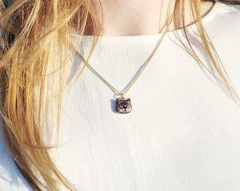 Gold Cat necklace, meme, cat lover gift, cat pendant necklace, pet charm, grumpy cat
