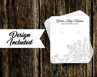 Jewelry Display Cards | Earring Cards | Necklace Cards | Gray Floral