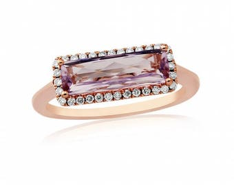 Rose de France Amethyst Birthstone Ring in 9ct Gold, February Birthstone