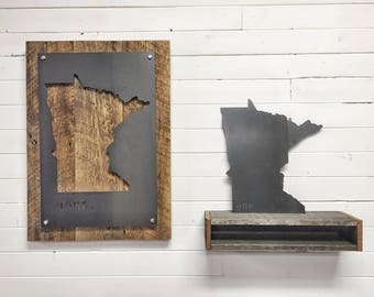 Reclaimed Wood & Steel State Sign - Metal State Map Decor