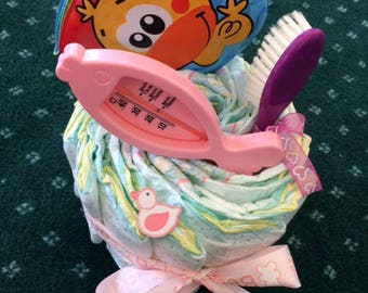 BABY GIRL SPECIAL BATH VERSION DIAPER CAKE