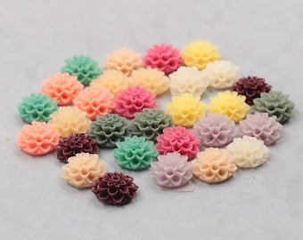 14mm Resin Flower Cabochons / Mixed Lot Resin Flowers Supplies Wholesale SZ-003-1