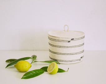 Lidded basket, Bowl, Rope bowl, Rope basket, Basket with lid, Fruit bowl. Modern basket, Storage basket, Cosmetics basket