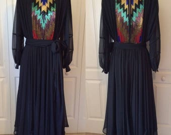 Vintage 70's/80's Black Chiffon Beaded Full Sweep Maxi Dress w/Bishop Sleeves M/L