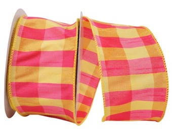 """INSTOCK....Vibrant Yellow and Fuschia Plaid 2.5"""" wide Wired Ribbon....5 yards....NEWS"""