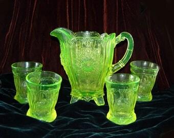 Vintage Vaseline Mosser Glass Pitcher Set, Mosser Glass Vaseline Dahlia Flower, Mosser Pitcher and Tumblers, Uranium Glass Pitcher Set