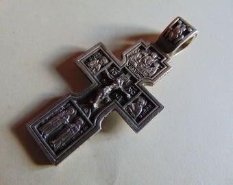 Cross silver 925. Silver pendant. Made in Russia.Orthodox cross, Russian Orthodox pendant.Big.