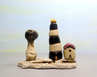Miniature house, Miniature lighthouse, Ceramic miniature house, dolls and houses, Little house, Rustic house, Rustic home decor, Natural art