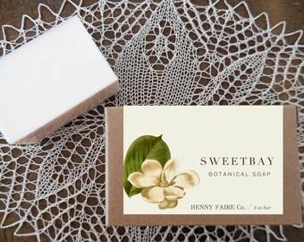sweetbay botanical soap | magnolia soap with lemon, bay leaf & sandalwood | 4 oz botanical bath bar