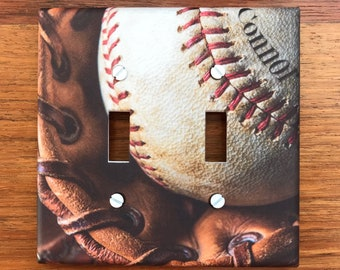 Baseball light switch plate cover // Glove Mitt // Personalized // boys sports room // SAME Day SHIPPING!! **