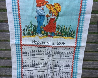 Linen calendar towel from 1981 - Happiness is Love