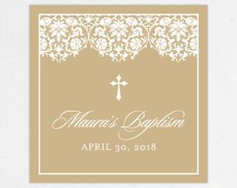 Baptism Favor Tag, Baptism Favor Label, Christening Favor Tag, Christening Favor Label, Printed, Floral, Damask, Lace, Girl, Kraft, Maura