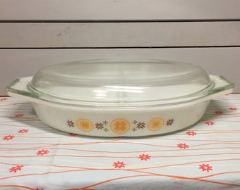 Vintage Pyrex Town and Country Divided Casserole Baking Serving Dish with Lid
