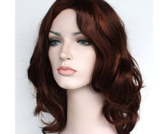 Christmas wig Sale. Chestnut highlighted shoulder length wavy wig. ready to ship. New Year's Eve party wig. Christmas party hair.