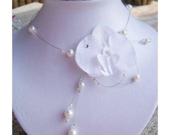 Jewelry set for wedding, bridal set - Orchid and glass beads - necklace, bracelet, earrings and hair jewelry