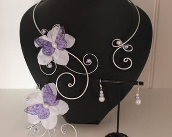 Set of 3 wedding bridal Purple Butterfly pieces: necklace bracelet earrings