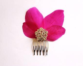 Vintage fuchsia rhinestone bridal wedding fascinator bridal Fascinator bridal comb