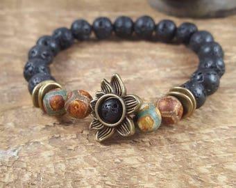 Mala Beads, Mala Bead Bracelet, Lava Stone Bracelet, Lotus Bracelet, Essential Oil Diffuser Bracelet