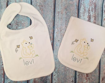 Bib and Burp Cloth set- Vintage Bear monogrammed baby gift, baby shower gift