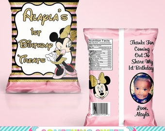 DIY PDF Template Girl Mouse with Gold Themed Chip Bag Treat Bag(READ before ordering)