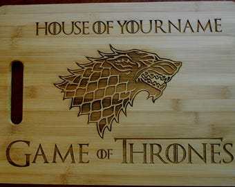 Custom Personalized Game of Thrones Bamboo Cutting Board Laser-engraved cheese board Engraved names on cutting board Christmas Gift