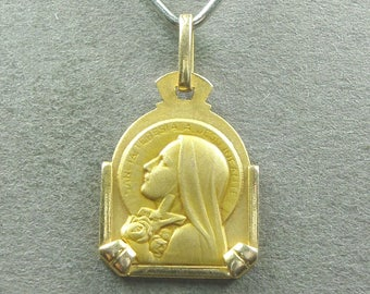 French, Antique Religious Pendant. Saint Therese of Lisieux. Gold plating medal. Roses. Art Deco. 170729 1 G