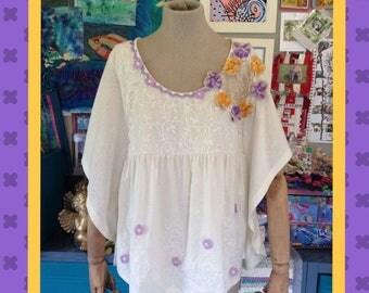 Boho Folk Summer Blouse Top Appliquéd with Crochet Flowers & Lilac Ricrac Trimmings // Bohemian, Unique, Refashioned, Reworked