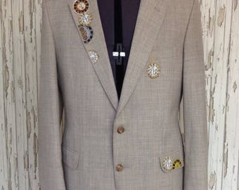 SALE Mens Formal Beige Blazer Jacket Appliqued with steampunk Style Clocks & Watches // Alternative, Gothic, Refashioned, Unique, Upcycled