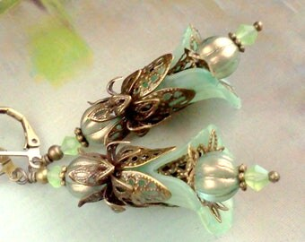 Hand Painted Earrings, Sage Green Earrings, Floral Dangles, Pale Green Earrings, Vintage Sage Earrings, Victorian Style, Boho, Gift for Her