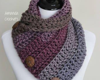 Crochet Cowl Pattern-Instant Download-3 Button Cowl Pattern-Neckwarmer-Button Scarf-Crochet Pattern-Pattern by Amanda Crochets