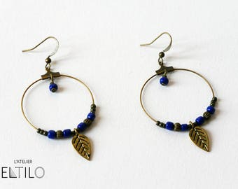 Earring creole style with blue beads and leaf / / Bohemian style earrings / / hand made original design