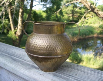 Hammered brass vase Etsy