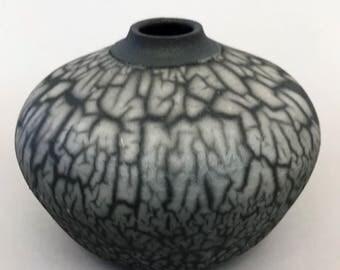 Handmade Ceramic Low Fire Naked Raku Vase