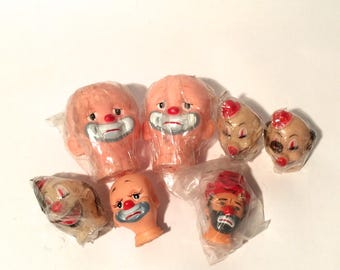Creeptastic! Instant Scary Clown Collection/Vintage 1960 Lot of 7 Clown Doll Heads/Terrifying