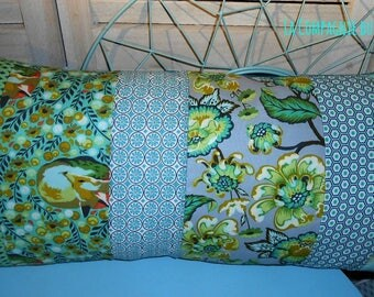 "XXL ""Softly bluish Composition"" Patchwork Cushion cover 60 x 30 cm open wallet"