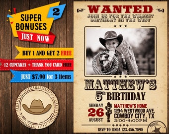 Cowboy Birthday Invitation, Cowboy Birthday Invitation with photo, Cowboy Birthday Invitation boy, Cowboy invitations for kids