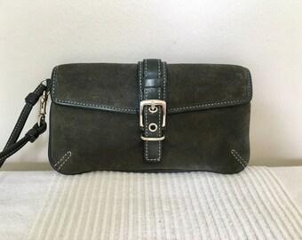 Vintage COACH Gray Suede Leather Wallet Organizer Handbag Purse