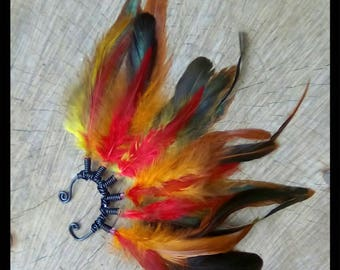 Pyro Pixie Flame Ombre Feather Tribal Boho Gypsy Pixie Festival Feather Ear Cuff