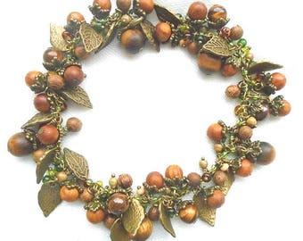 Women Day Gift Nut Forest bracelet, Woodland Elven Charm leaves beads bracelet, Tiger eye Wooden bracelet, spring Easter bracelet, boho mori