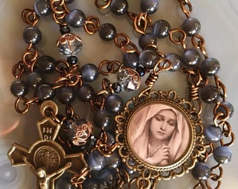 Beautiful Brass Sorrowful Mother Rosary