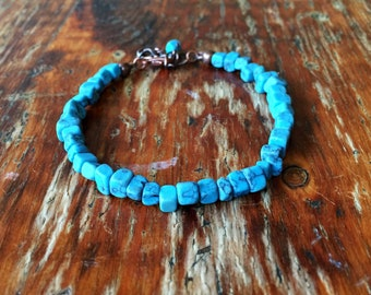 Gift for him, men's bracelet, turquoise men's jewellery, ethnic jewellery for men, men's blue bracelet, summer bracelet for him